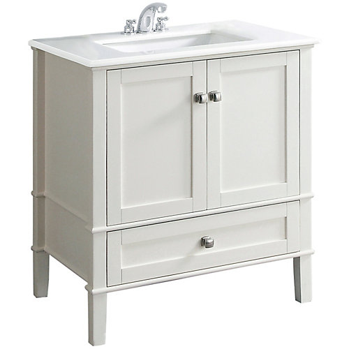Chelsea 30-inch Vanity in Soft White with Quartz Marble Top in White & Under-Mount Rectangular Sink