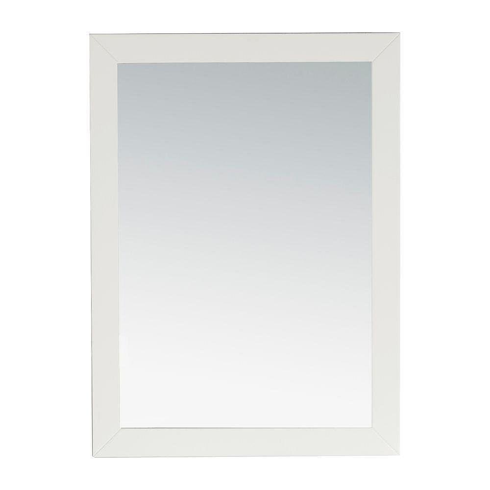 Simpli Home Chelsea 30-inch L x 22-inch W Wall Mirror in White Lacquer