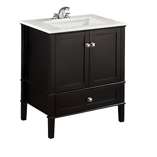 Chelsea 31-inch W 1-Drawer 2-Door Freestanding Vanity in Black With Quartz Top in White