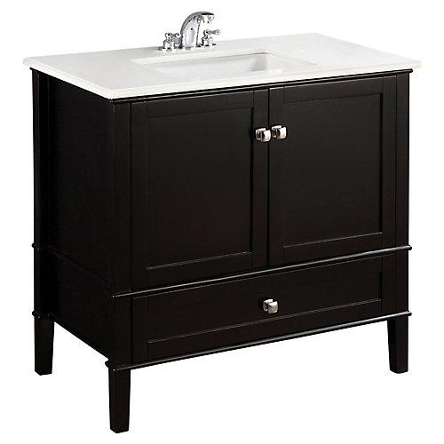 Chelsea 37-inch W 1-Drawer 2-Door Freestanding Vanity in Black With Quartz Top in White