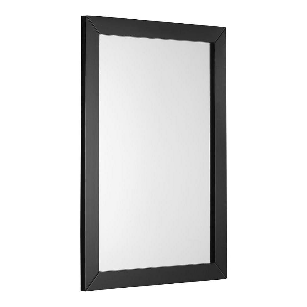 Simpli Home Chelsea 30-inch L x 22-inch W Framed Wall Mirror in Black Lacquer
