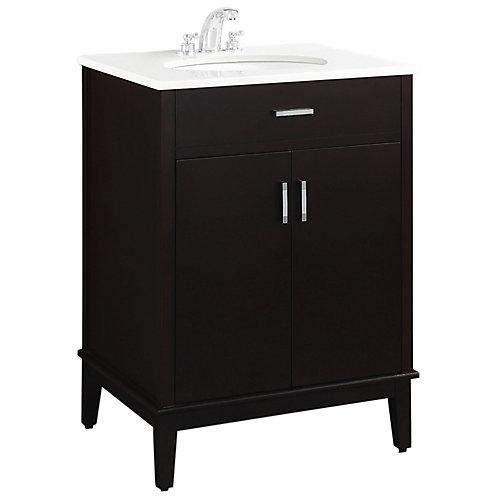 Urban Loft 24-inch Vanity in Espresso Brown with Quartz Marble Top in White & Under-Mount Oval Sink
