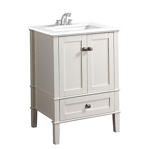 Meuble-lavabo Chelsea de 24 po, blanc doux