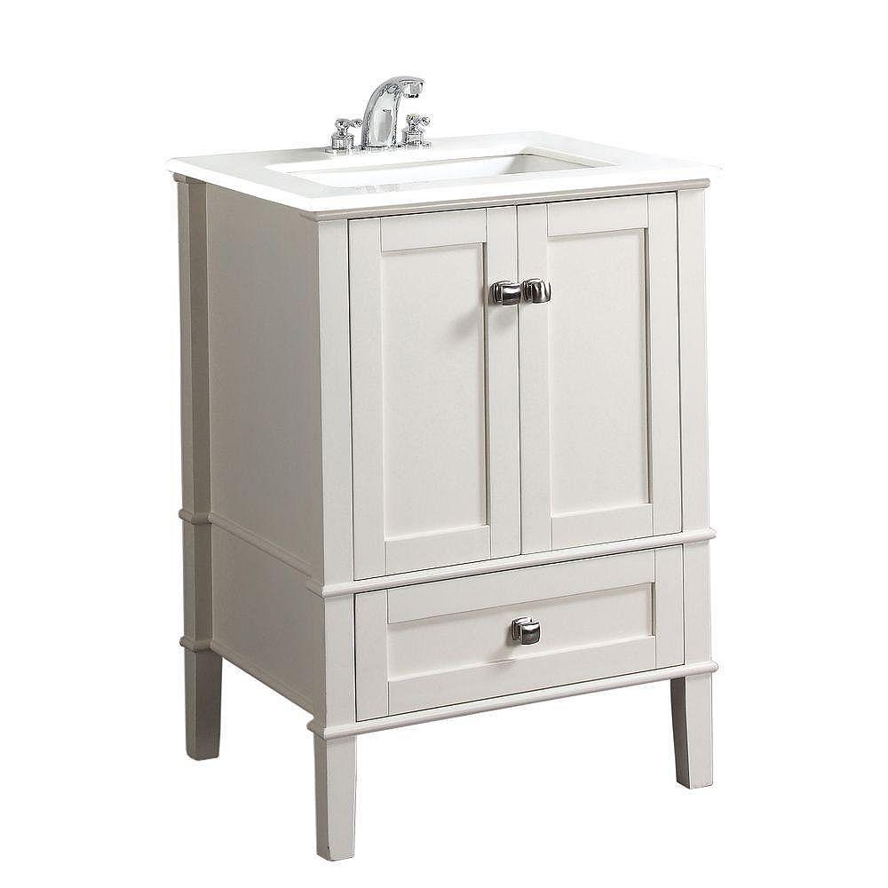 Simpli Home Chelsea 25-inch W 1-Drawer 2-Door Freestanding Vanity in White With Quartz Top in White