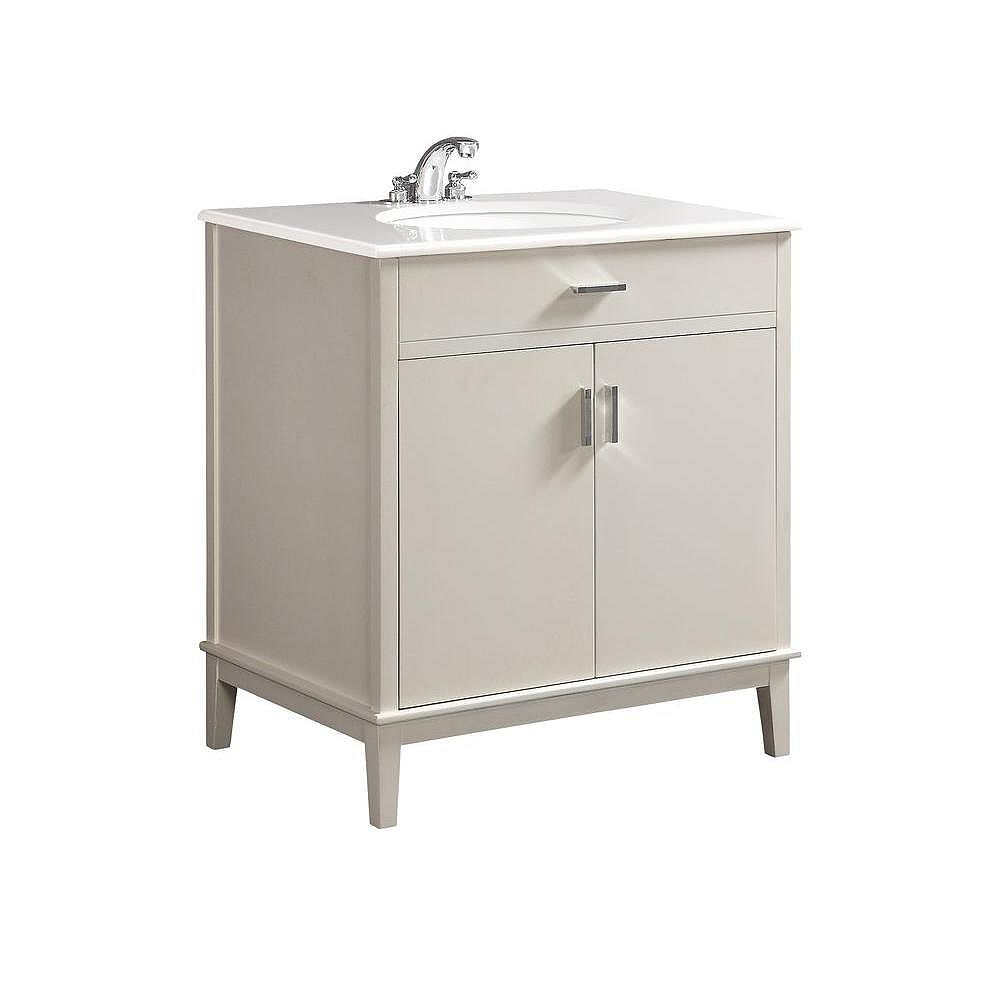 Simpli Home Urban Loft 30-inch Vanity in White with Quartz Marble Top in White and Under-Mounted Oval Sink