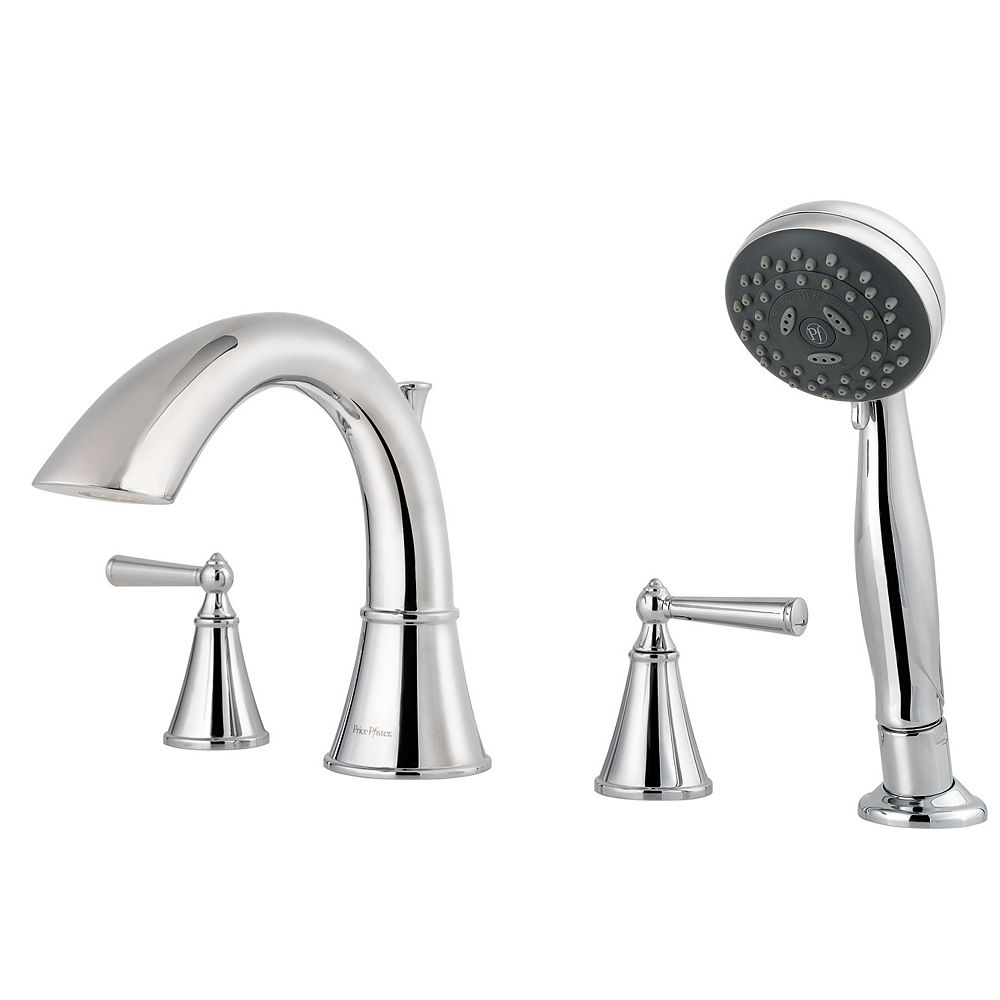 Pfister Saxton 2-Handle Roman Bath Faucet with Hand Shower in Polished Chrome Finish