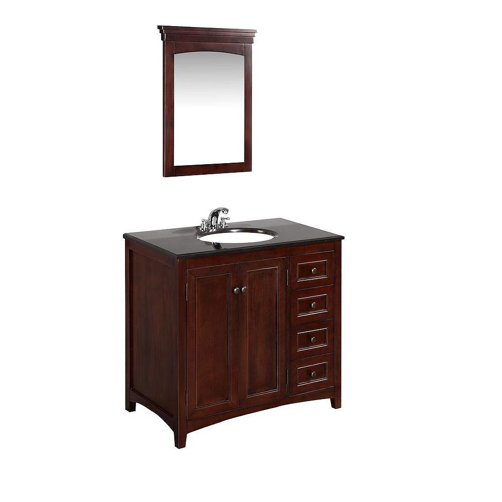 Simpli Home Yorkville 36-inch W 3-Drawer Vanity in Brown