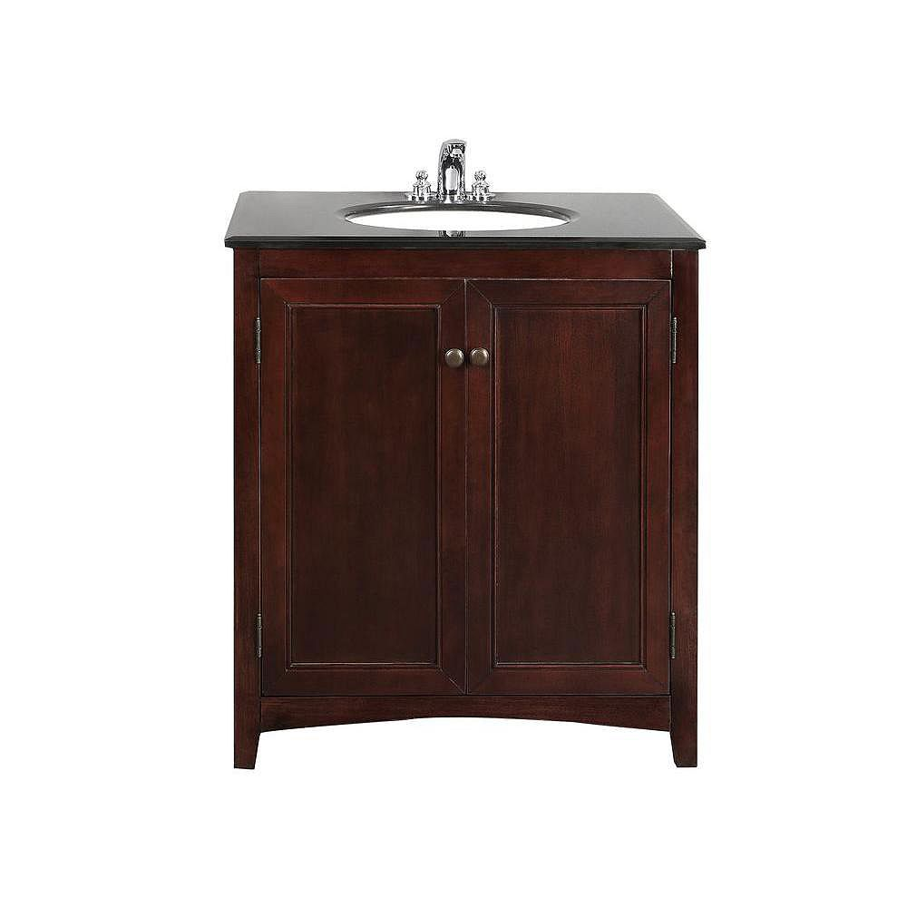 Simpli Home Yorkville 30-inch W Vanity in Brown