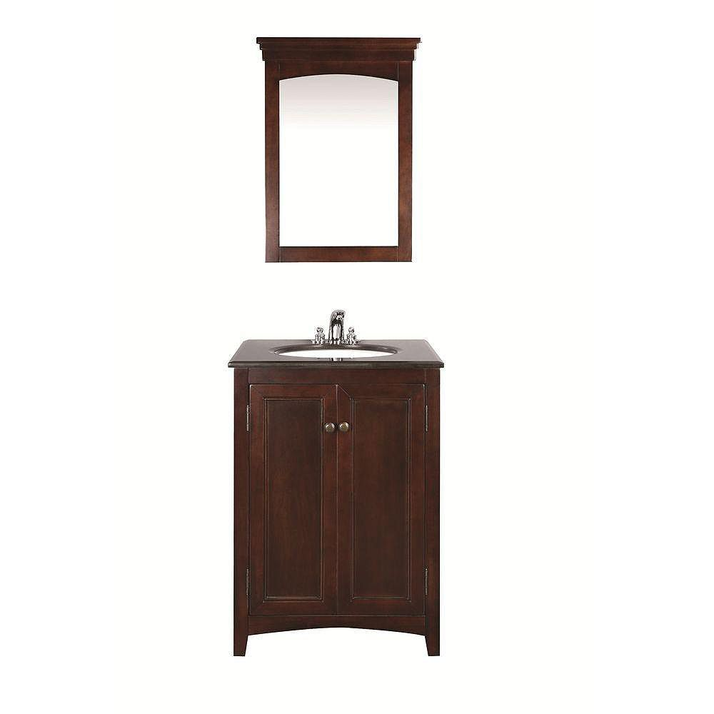 Simpli Home Yorkville 24-inch W Vanity in Brown