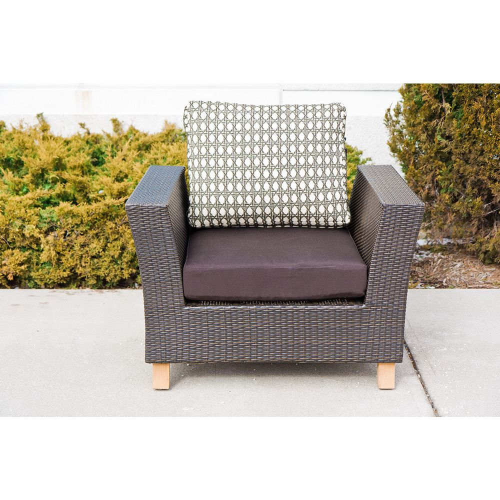 Li & Ming Agave Chair-olefin brown seat cushion and Robert Allen Island Rattan Driftwood back cushion