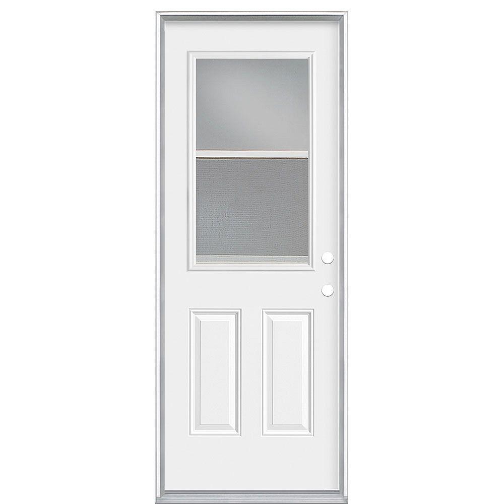Masonite Porte de gauche 1/2-Lite Low-E avec ventilation de 34 pouces x 80 x 7 1/4 pouces - Energy Star