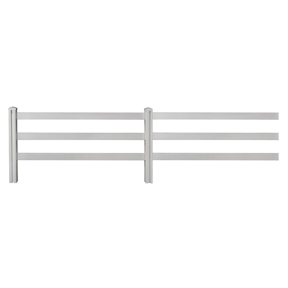 Wambam Traditional 4 ft. x 7 ft. Decorative Vinyl 3-Rail Fence Panel