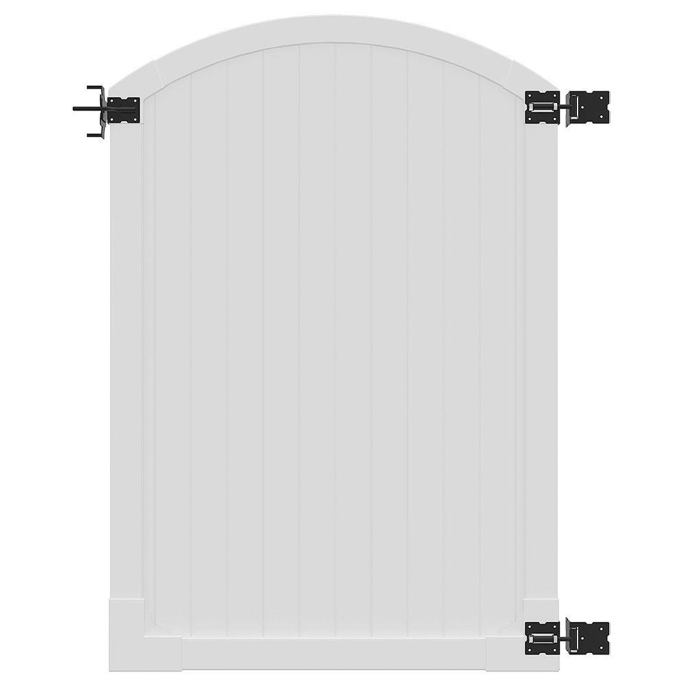 Wambam Traditional Portillon en vinyle arqué de première qualité de 6 pi H x 4 pi L avec quincaillerie en acier inoxydable à revêtement poudré