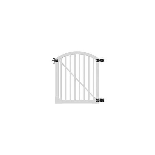 4 ft. x 4 ft. Premium Vinyl Yard and Pool Fence Gate with Powder Coated Stainless Steel Hardware