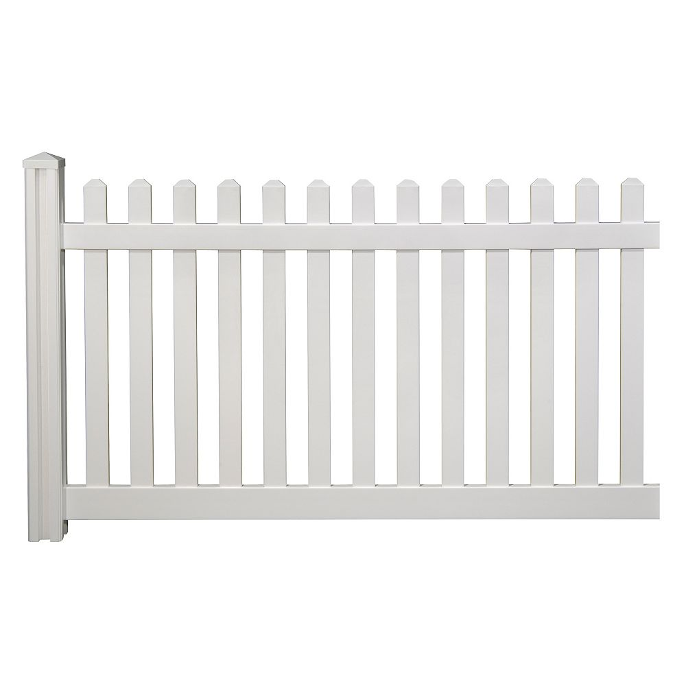Wambam Traditional 4 ft. H x 7 ft. W Premium Vinyl Classic Picket Fence Panel with Post and Cap