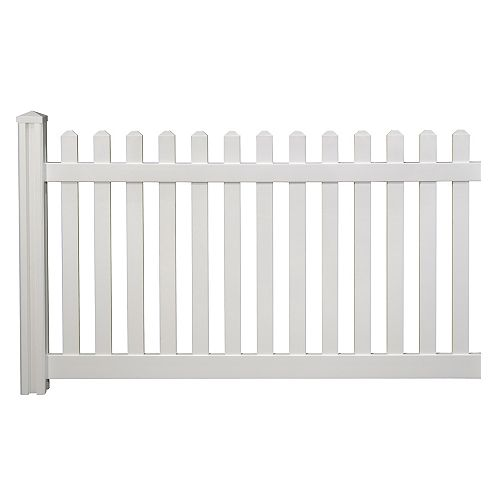 4 ft. H x 7 ft. W Premium Vinyl Classic Picket Fence Panel with Post and Cap