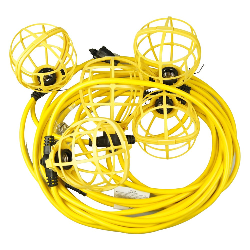 Husky 50 Ft 5 Socket Temporary String Worklight The Home Depot Canada