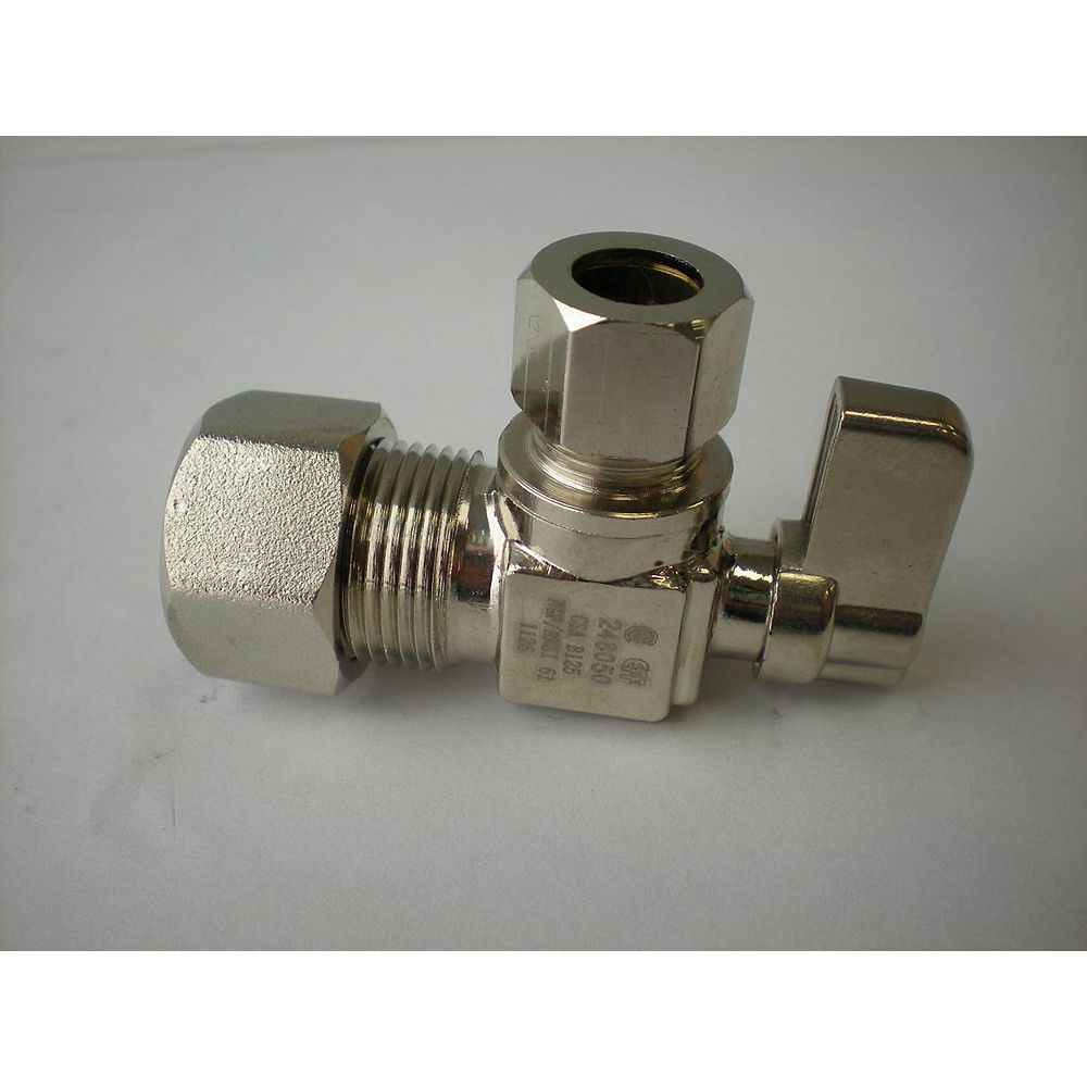Jag Plumbing Products 3/8-inch OD Comp. x 5/8-inch OD Comp. Angled Mini Valve