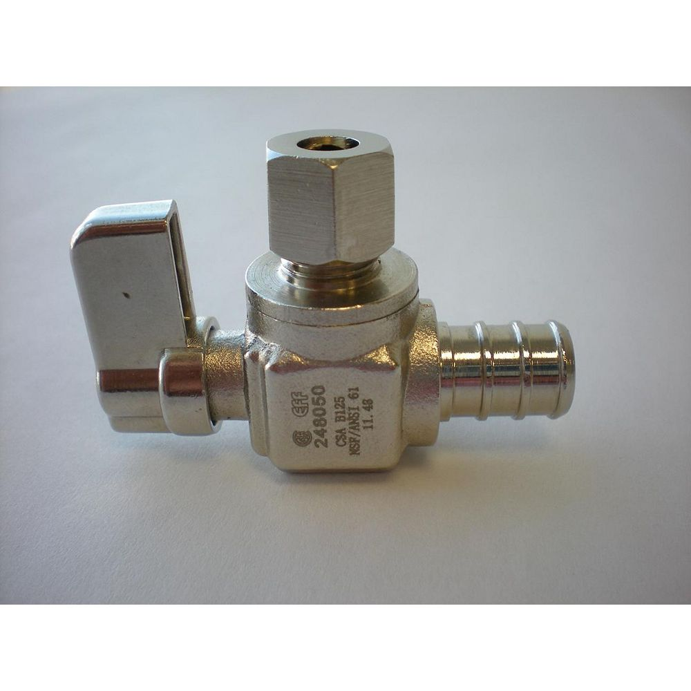 Jag Plumbing Products 1/2-inch PEX x 1/4-inch OD Comp. Angled Mini Valve