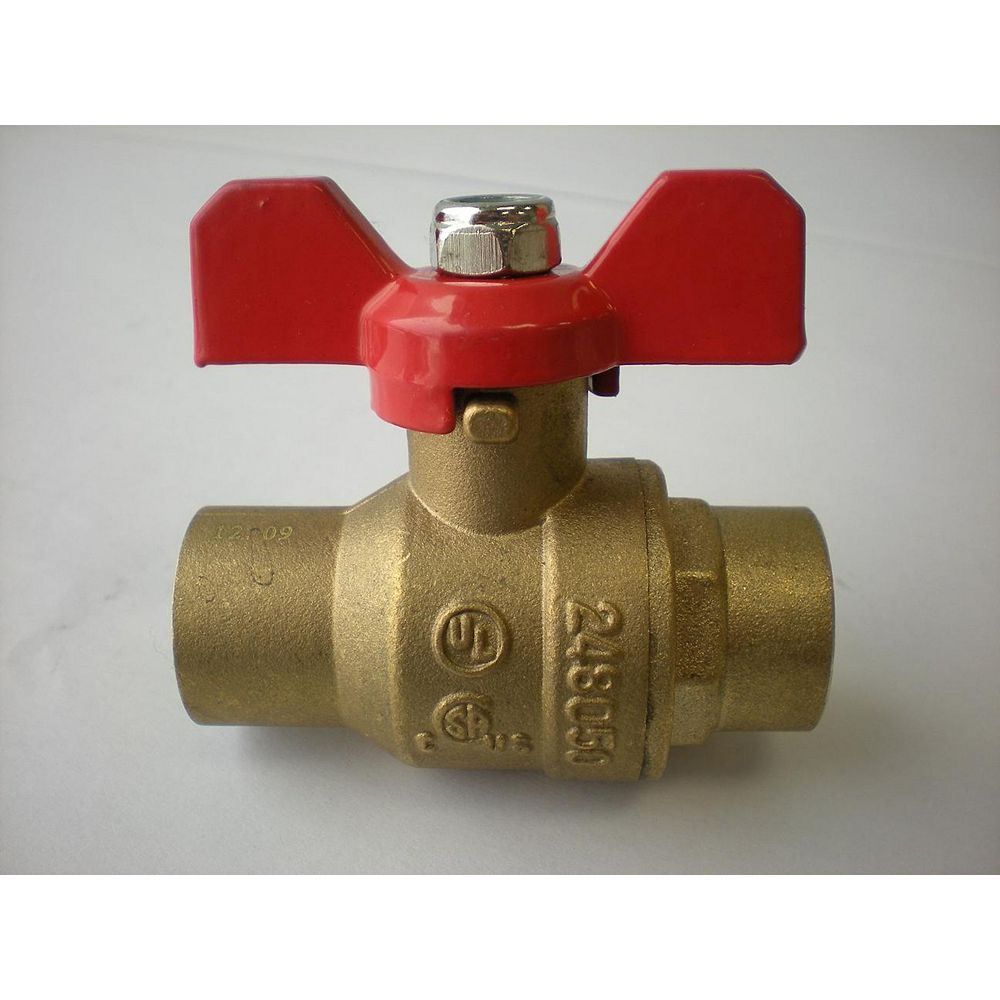 Jag Plumbing Products 3/4-inch CxC Full Port Forged Ball Valve with Butterfly Handle