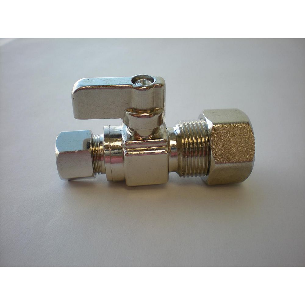 Jag Plumbing Products 1/4-inch OD Comp. x 5/8-inch OD Comp. Straight Mini Ball Valve in Unpolished Chrome