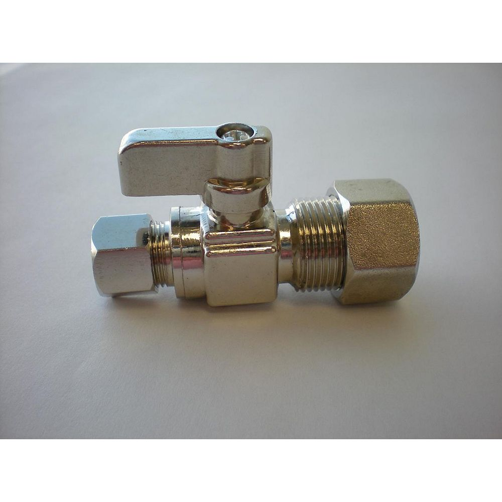 Jag Plumbing Products 3/8-inch OD Comp. x 5/8-inch OD Comp. Straight Mini Ball Valve in Unpolished Chrome