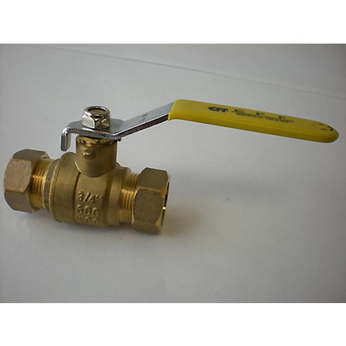 3/4-inch x 3/4-inch Compression Full Port Forged Brass Ball Valve