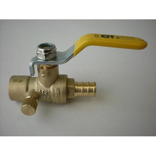 Jag Plumbing Products 1/2-inch PEX x 1/2-inch Sweat Forged Ball Valve with Drain