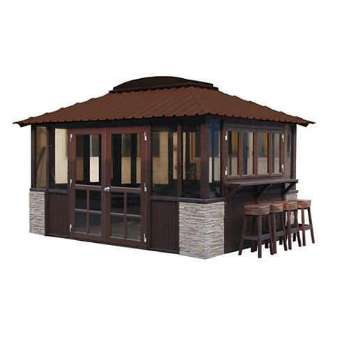 Barbados 10 ft. x 14 ft. Gazebo in Dark Grey