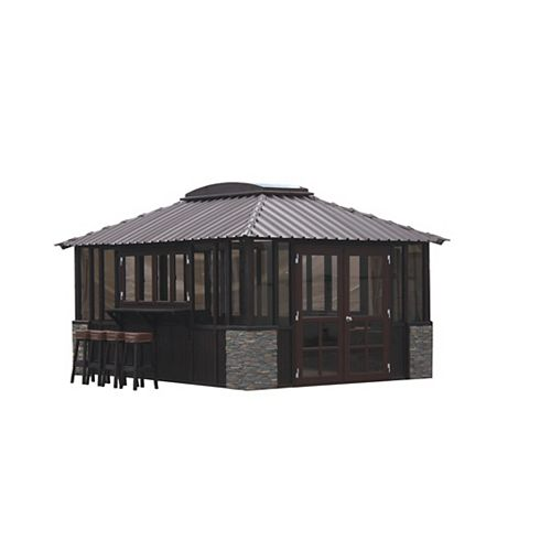 Barbados 12 ft. x 12 ft. Gazebo in Dark Grey