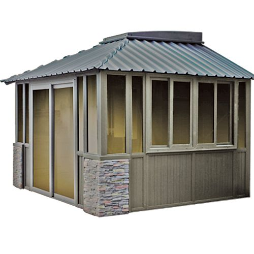 12 ft. x 12 ft. Attached Gazebo in Mahogany