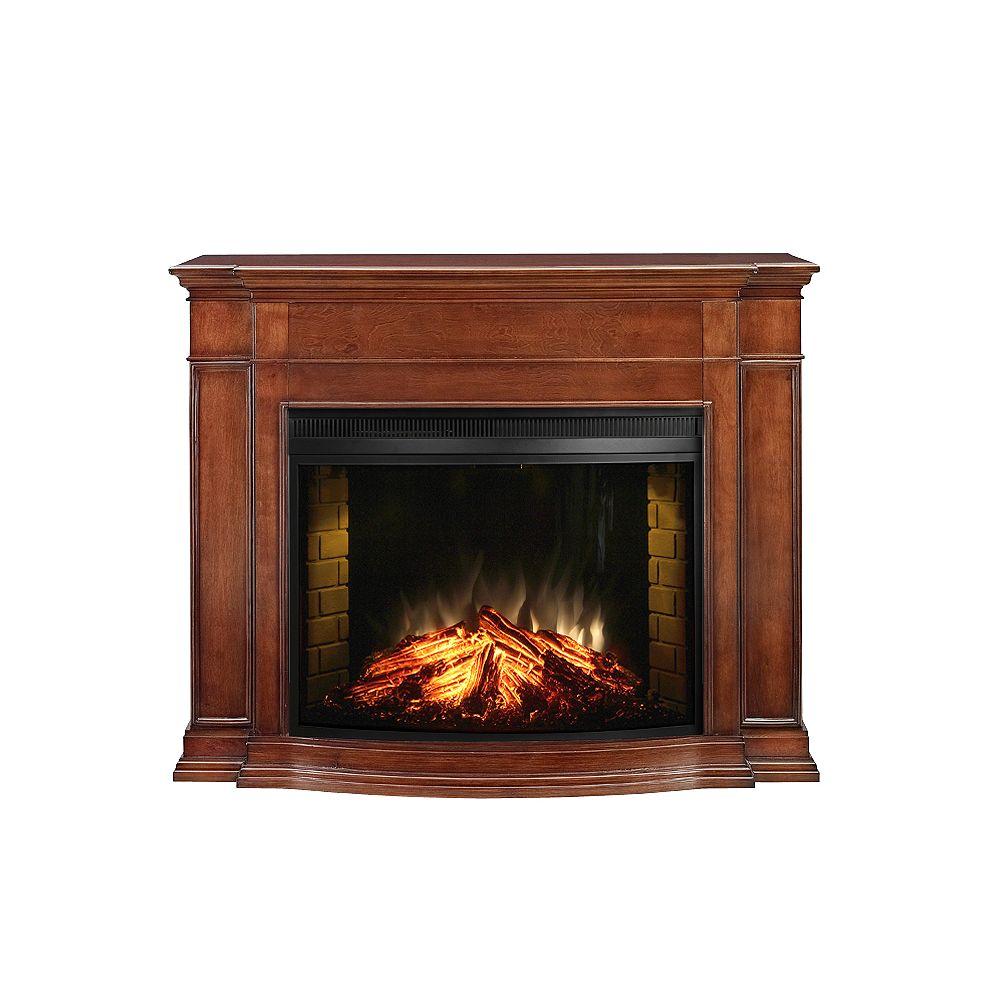 Muskoka Soames Electric Fireplace, Burnished Walnut Finish - 33 Inch Curved Firebox