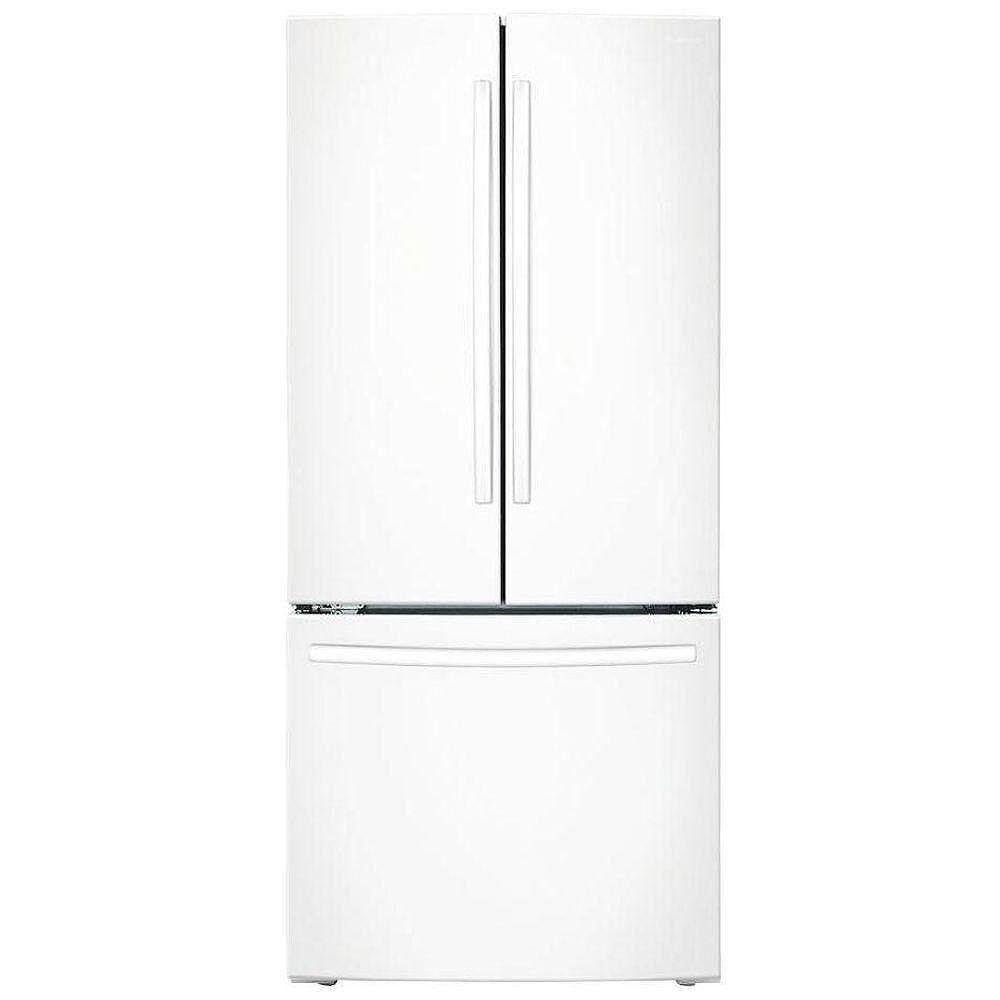Samsung Réfrigérateur de 30 po L 21,6 pi3 à porte française avec congélateur inférieur en blanc