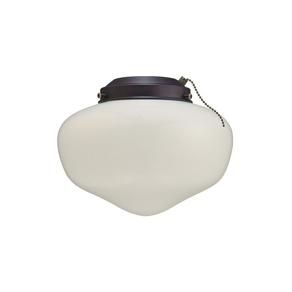 Westinghouse Indoor/Outdoor 4-Inch Fitter Ceiling Fan Light Kit, Oil Rubbed Bronze W/White Glass Shade