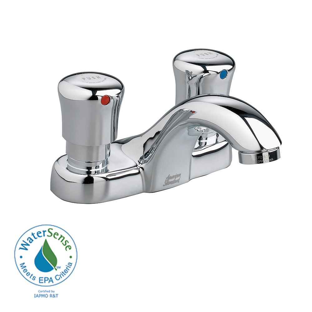 American Standard Metering Single Hole 2-Handle Low-Arc Bathroom Faucet in Polished Chrome Finish