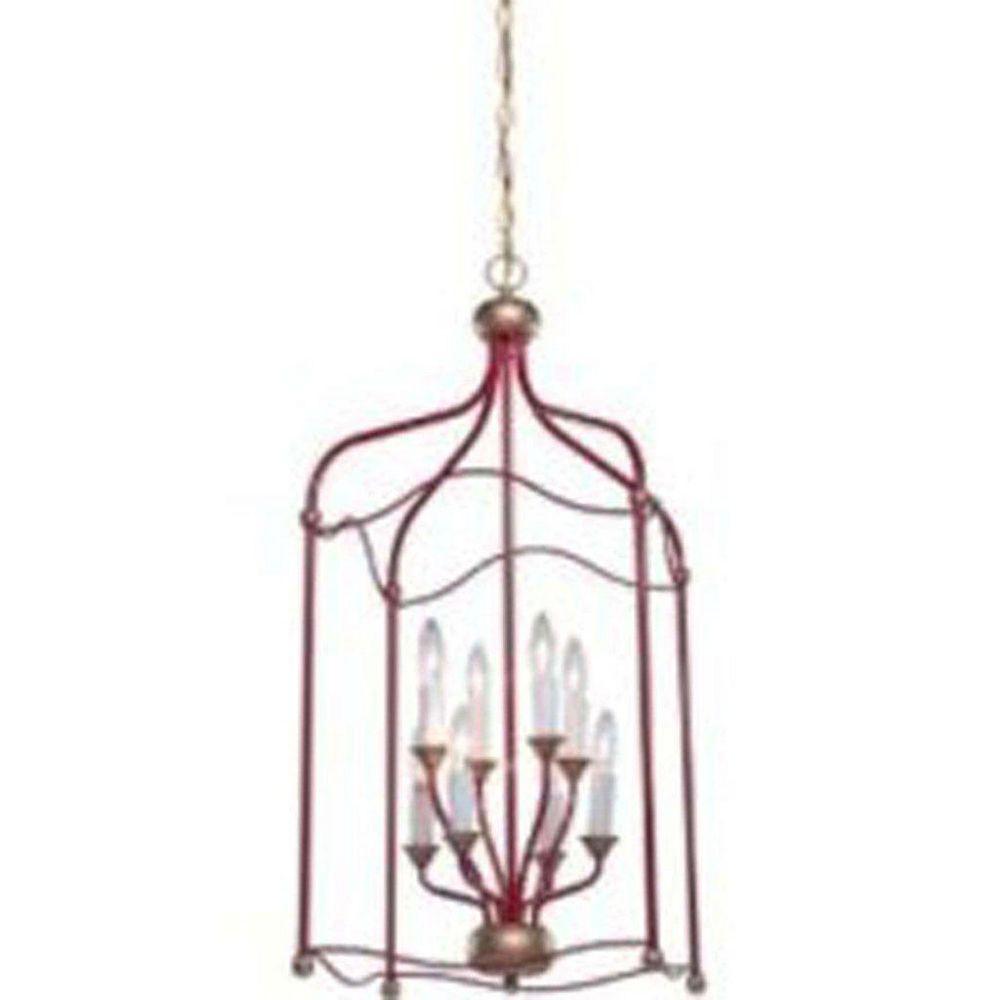Filament Design 8 Light Ceiling Red Incandescent Chandelier