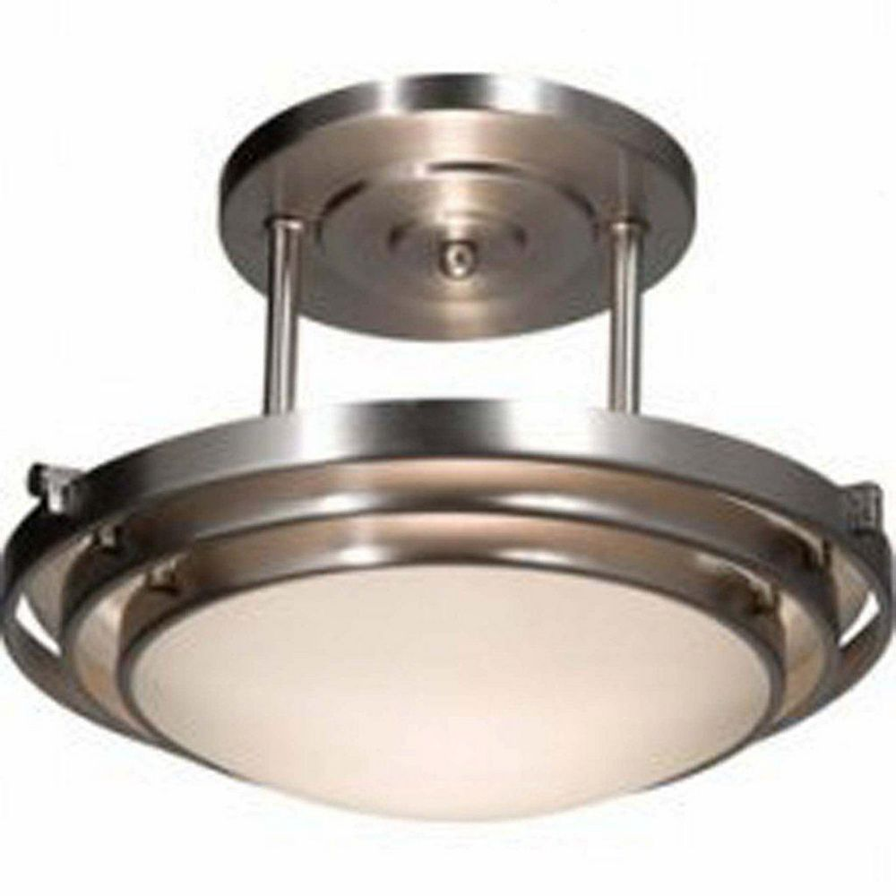 Filament Design 2 Light Ceiling Brushed Nickel Incandescent Semi Flush Mount