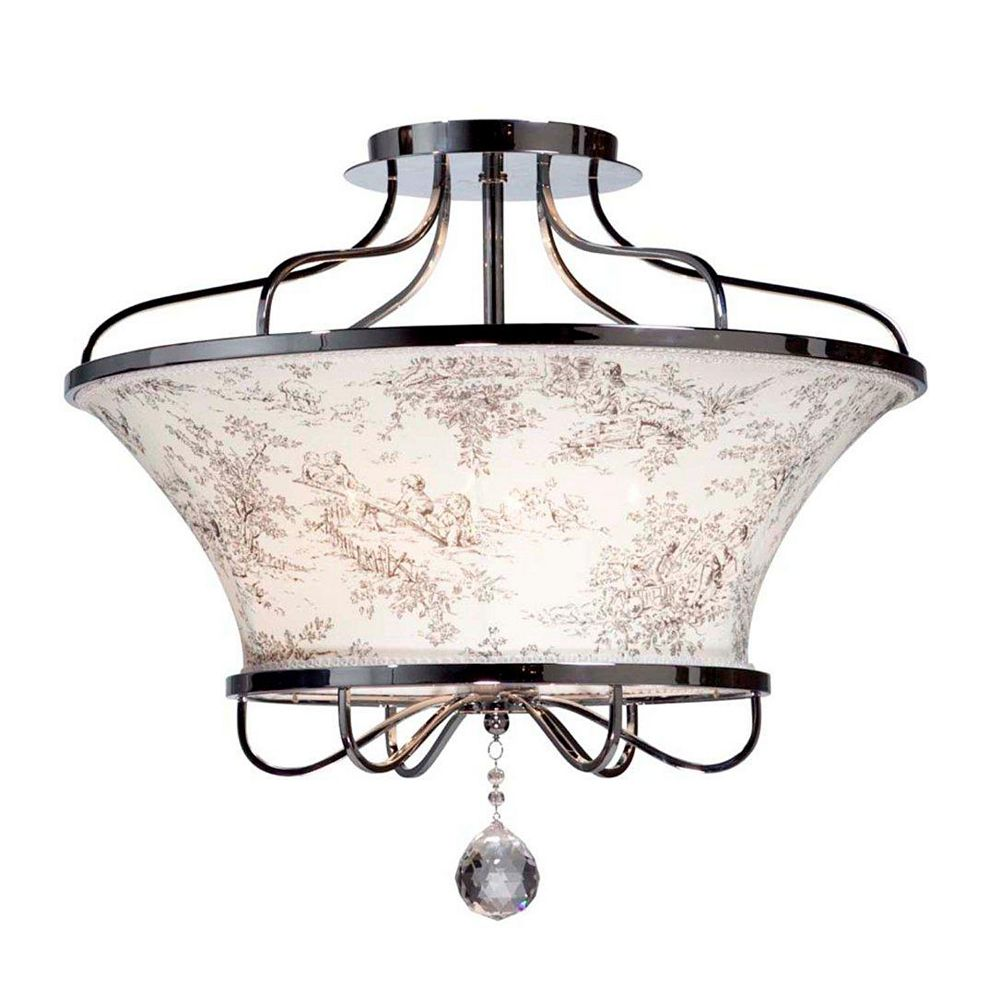 Filament Design 4 Light Ceiling Chrome Incandescent Semi Flush Mount