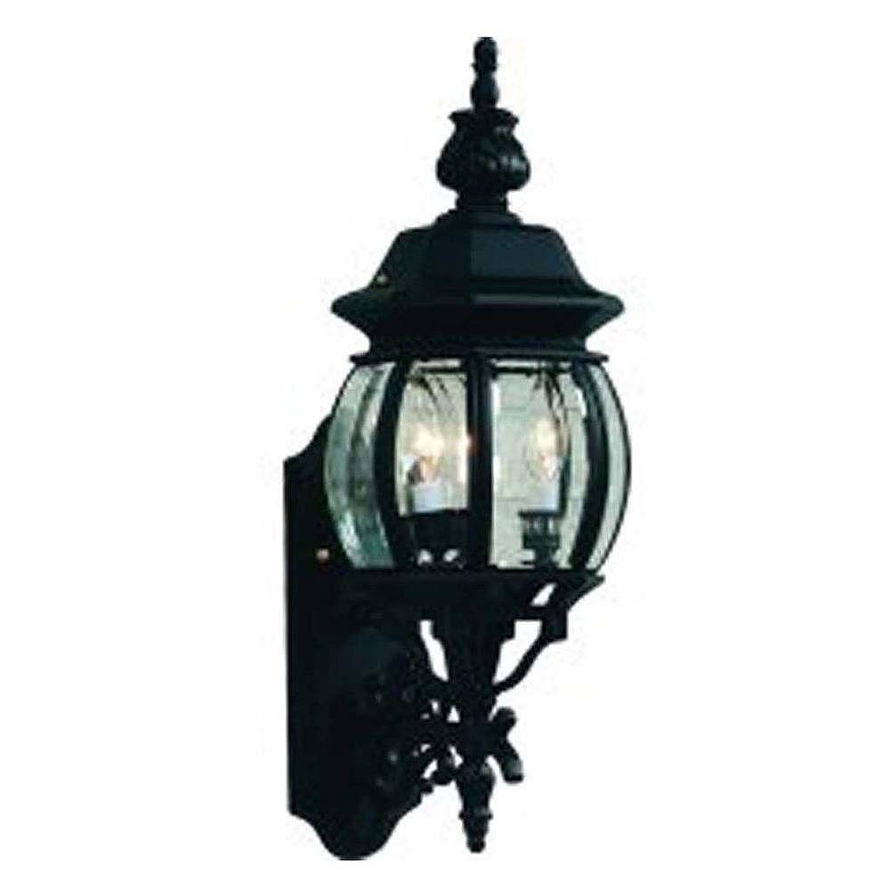 Filament Design Apollo 3 Light Black Outdoor Incandescent Wall Light