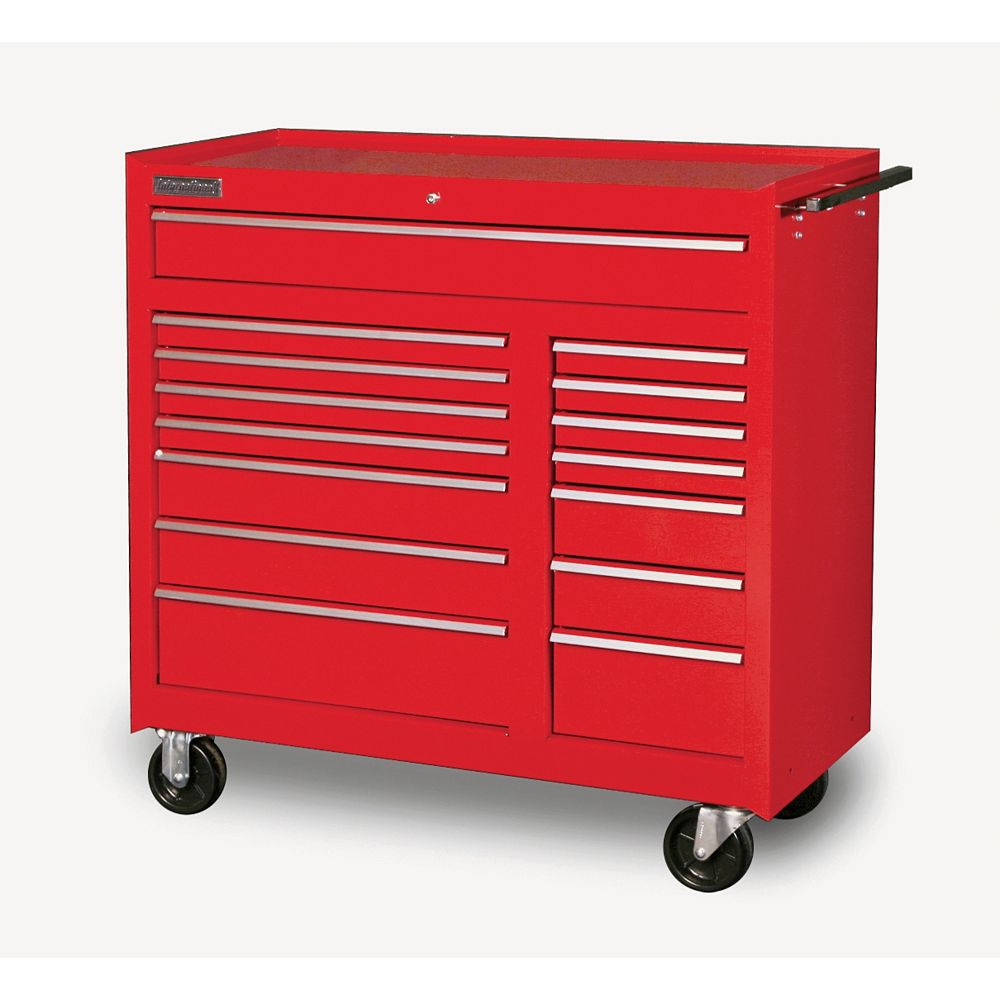 International 42-inch 15-Drawer Mobile Tool Storage Cabinet in Red