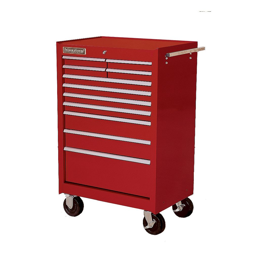 International 27-inch 11-Drawer Mobile Tool Storage Cabinet in Red