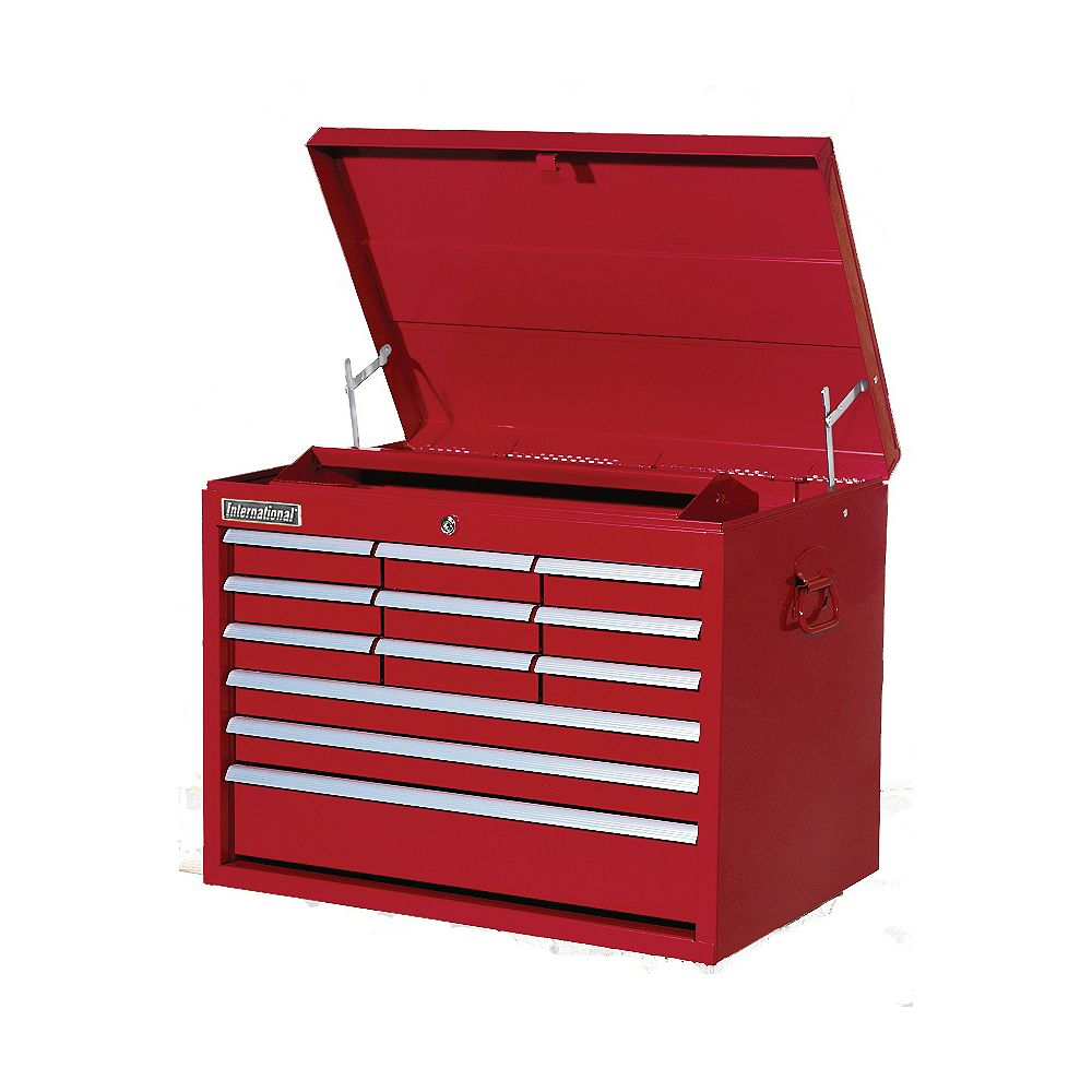 International 27-inch 12-Drawer Tool Storage Top Chest in Red