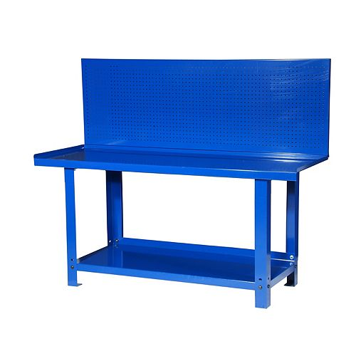 72-inch Steel Workbench with Pegboard