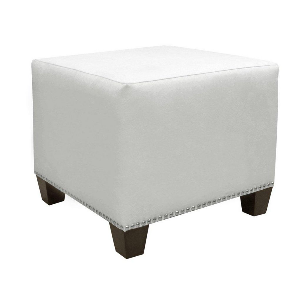 Skyline Furniture Square 18.5-inch x 16-inch x 18.5-inch Polyester/Polyester Blend Ottoman in White