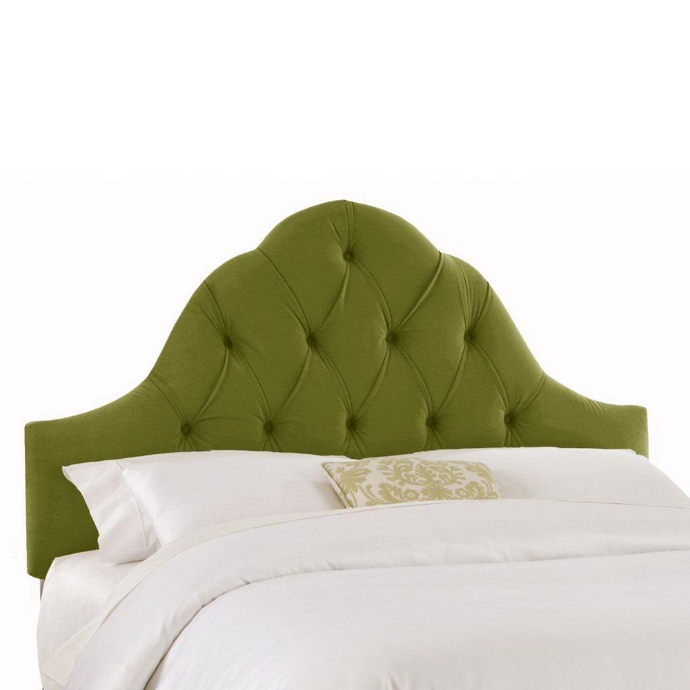 Skyline Furniture Upholstered Full Headboard in Velvet Apple Green