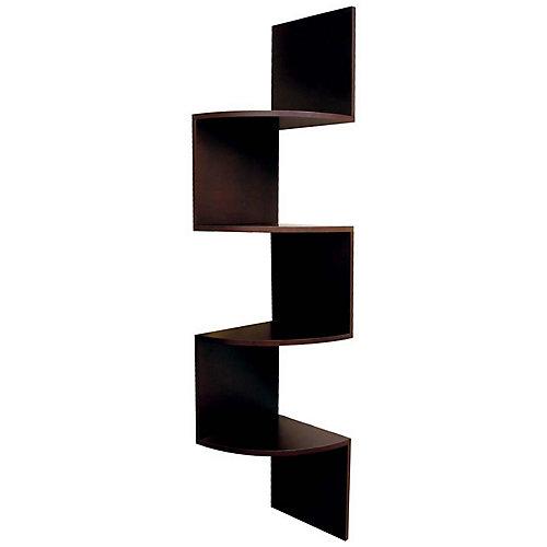 Provo  Étagère d'angle en bois fini noyer à quatre tablettes Dimensions : H 57 po xL 12po xP 12po Capacité maximale : 20lb (9kg) par étagère