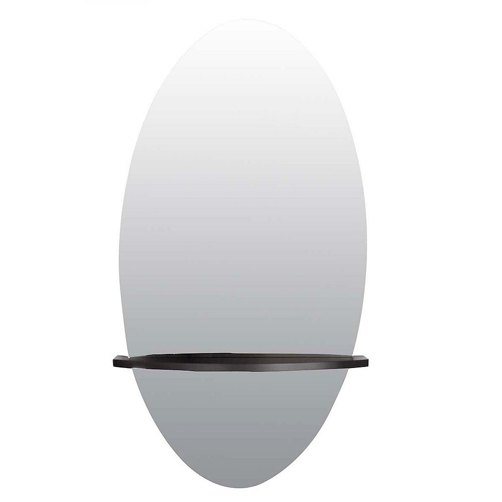 nexxt Reflect Oval Mirror 28X14 Inch With Wood Shelf In Black Finish