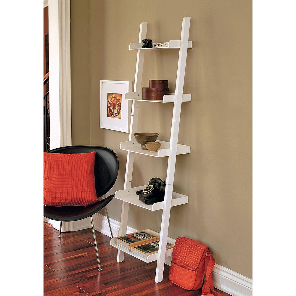 nexxt 18-inch x 67-inch x 13.5-inch 5-Shelf Ladder Bookcase in White
