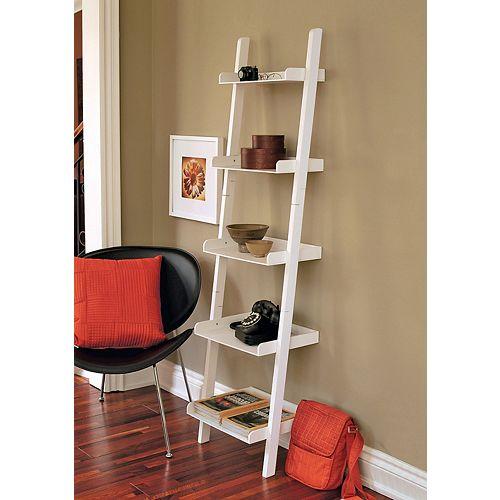 18-inch x 67-inch x 13.5-inch 5-Shelf Ladder Bookcase in White