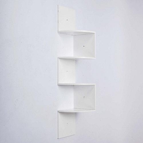 Provo – Étagère d'angle en bois blanc à quatre tablettes – H 57 po xL 12po xP 12po –Capacité maximale : 20lb par étagère